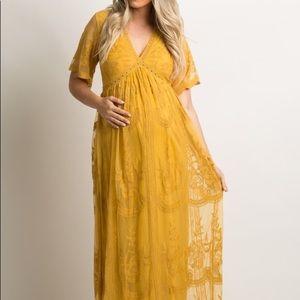 Pinkblush mustard lace mesh maternity maxi dress